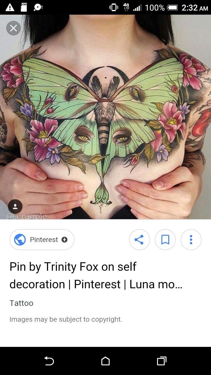 701ca6fb3 Luna moth chest piece tattoo | tattoos | Chest piece tattoos, Neo ...