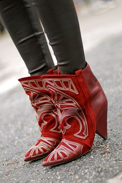 Red Boots - Isabel Marant: Fashion Shoes, Red Boots, Style, Leather Boots, Marant Boots, Westerns Boots, Red Booty, Isabel Marant, Cowboys Boots