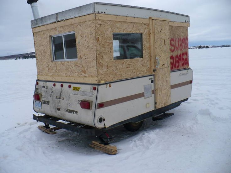 374 best ice fishing images on pinterest for Hunting hut plans