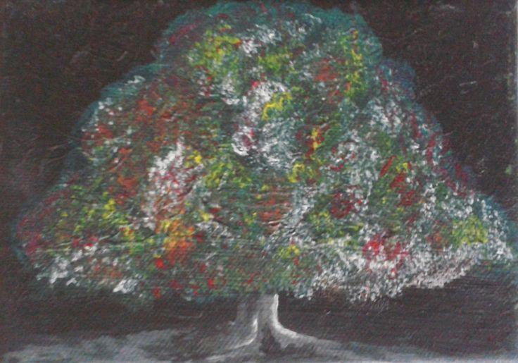 Beauté dans la nuit 18x13 cm Peinture acrylique