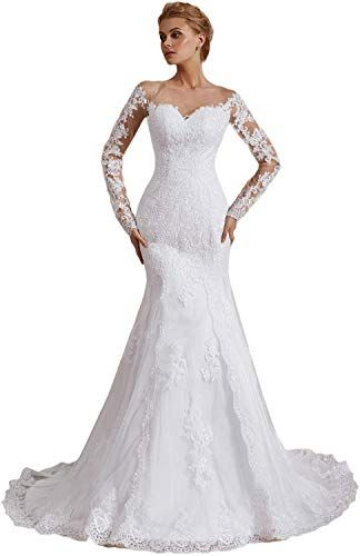 9970f1f2cbbcb Beautiful OYISHA Womens Formal Strapless Sweetheart Mermaid Wedding Dress  Lace Bridal Dresses Long 2019 WD162 Women