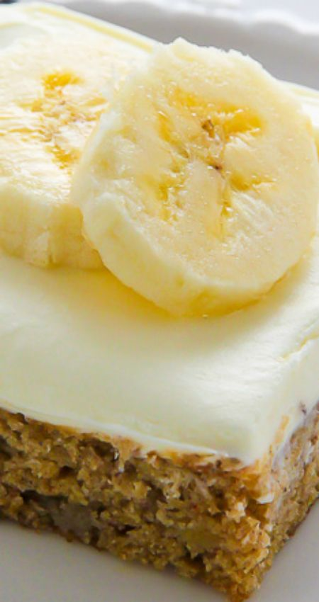 Old-Fashioned Banana Bars with Cream Cheese Frosting ~ Supremely moist Old-Fashioned Banana Bars topped with sweet cream cheese frosting... Perfect for breakfast or dessert.