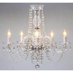 """Amazon.com: New! AUTHENTIC ALL CRYSTAL CHANDELIERS H25"""" X W24"""": Lamps & Light Fixtures"""