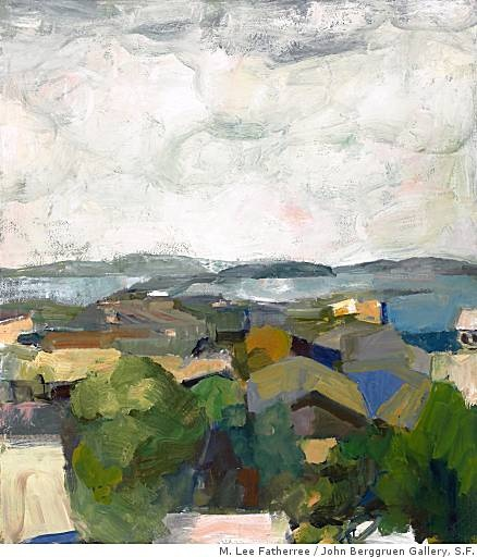 "Elmer Bischoff's ""Rooftops and Bay,"" from 1961, is both abstract and figurative."