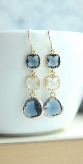 Sapphire Blue, Navy Blue, Clear Glass Earrings. Dark Blue Gold Framed Glass Drop Dangle Long Earrings. Modern, Blue Wedding Bridesmaid Gift - https://www.etsy.com/listing/180292577/sapphire-blue-navy-blue-clear-glass?ref=shop_home_active_11
