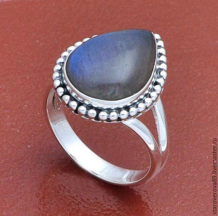 Купить Кольцо лабрадор - темно-серый, серый, кольцо с лабрадоритом, кольцо с лабрадором, лабрадор, лабрадорит