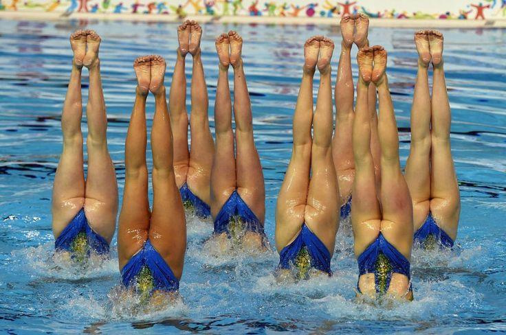 10.09 Les Canadiennes sont au top lors de l'épreuve de natation synchronisée aux Jeux panaméricains à Toronto au Canada.Photo: Timothy A. Clary