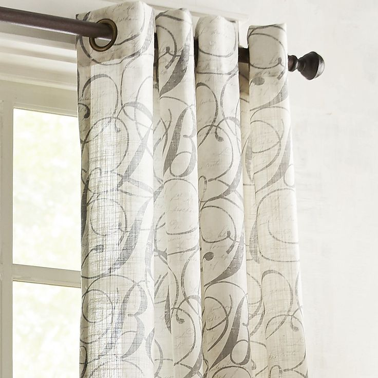 "Gray Calligraphy 108"" Grommet Curtain"