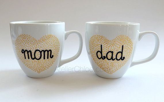 Hand Painted Mugs for Parents Gratitude Gift for by atelierChloe