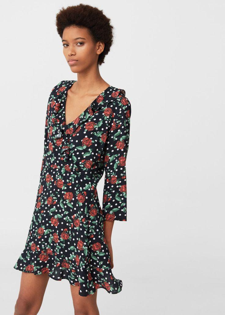 Платье с цветочным узором - Платья - Женская | MANGO МАНГО Россия (Российская Федерация)
