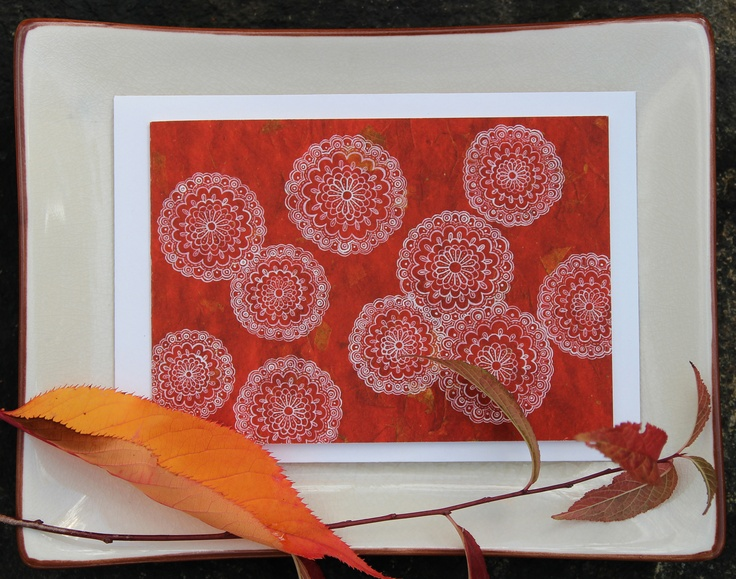 naturewrap greeting card 'Red Wheels'   Printed on archival bamboo paper  www.emmajennings.com.au