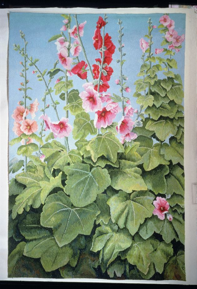 The Hollyhock Tapestry, commission for the Stamford Shakespeare Company (9 X 6 feet), a more recent project.