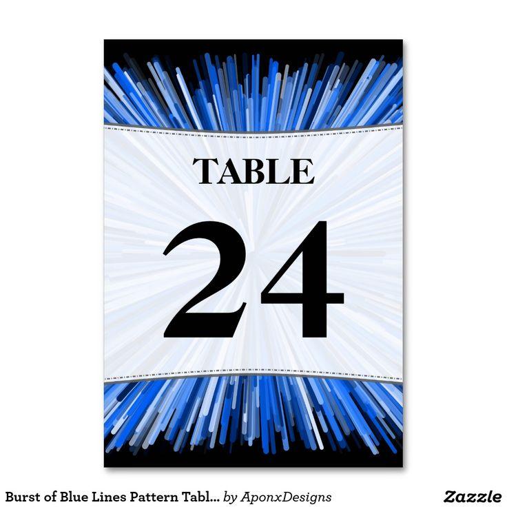 Burst of Blue Lines Pattern Table Number Cards
