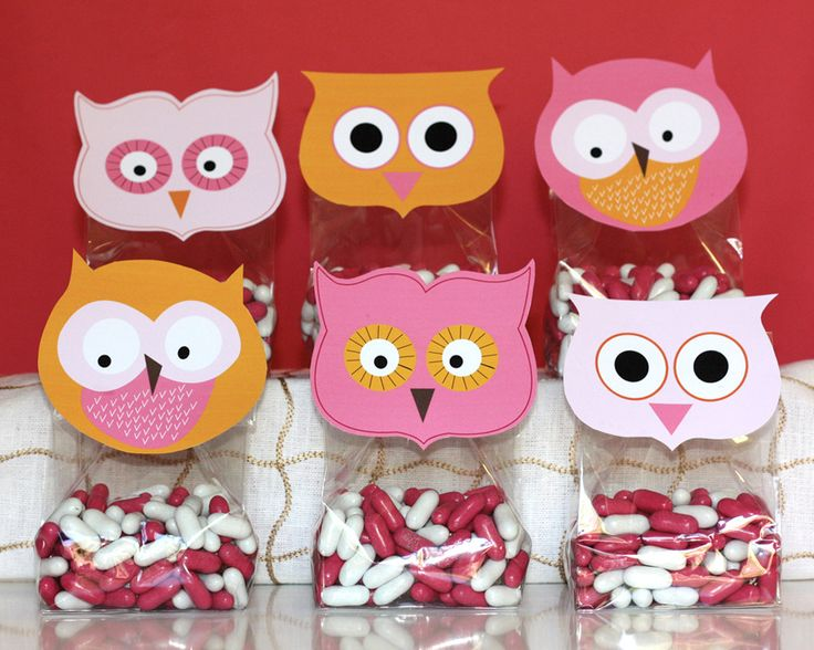 Image of printable Owl favor toppers- Sherbet Collection