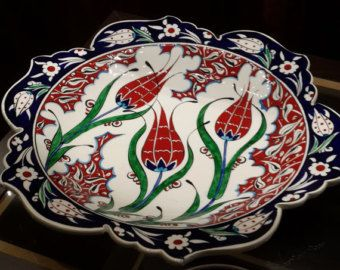 Hand-Painted Iznik Ceramic Pottery  / Anatolian Pattern-  Plate 40 cm / Special Cutting / 16th Century
