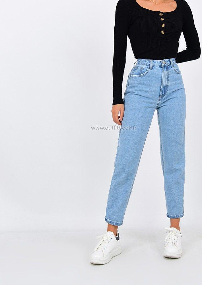 pantalon mom femme taille haute