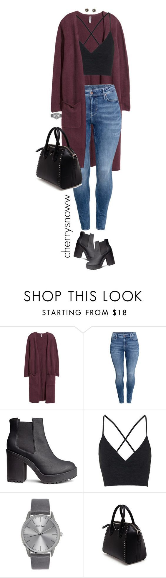 """""""Casual grunge fall outfit"""" by cherrysnoww ❤ liked on Polyvore featuring H&M, Topshop, Givenchy and Snö Of Sweden:"""