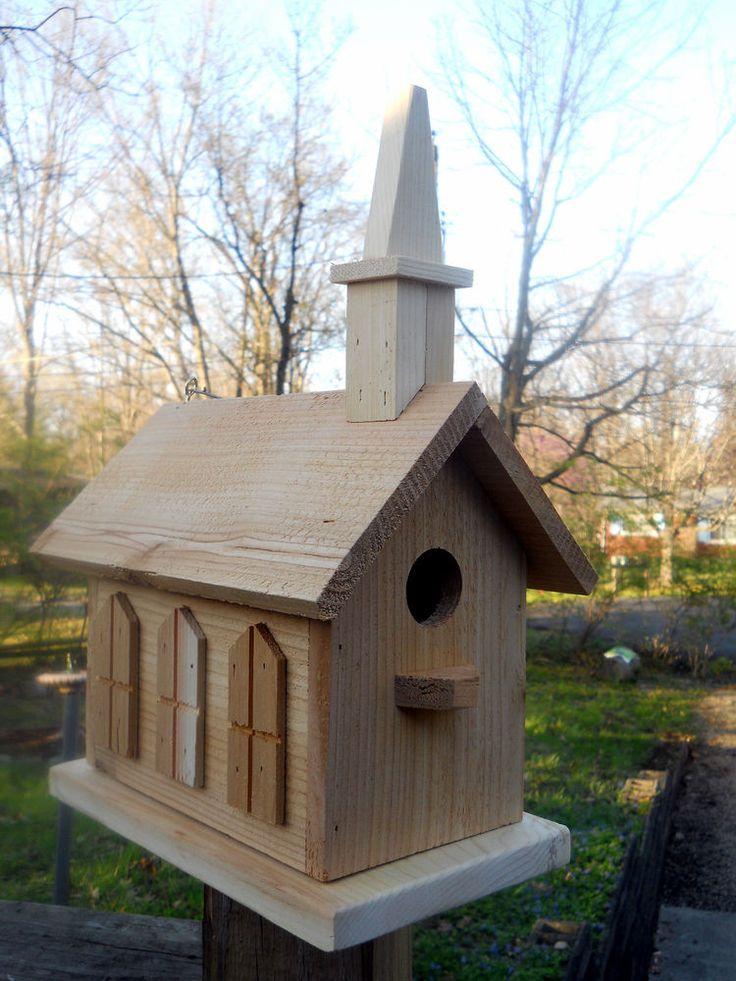 Birdhouse 2 Nest Church Handcrafted Folk Art Primitives Rustic Bird House Decorative Bird