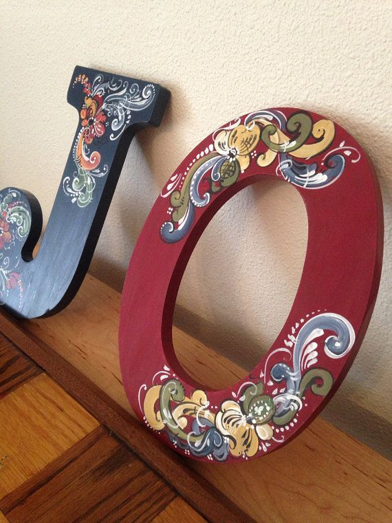 Norwegian rosemaled wooden letter by OlsenTrademarkCrafts on Etsy