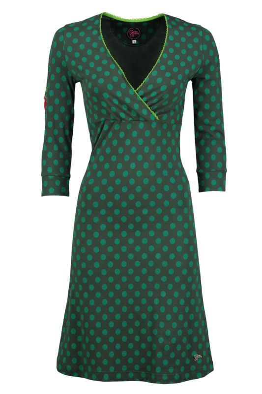 Dress Crossover Little Dot Green - Tante Betsy