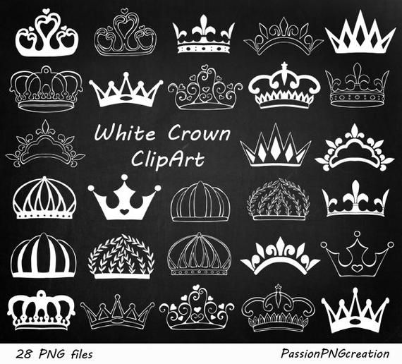 White Doodle Crown Clipart Hand Drawn Crown Clip Art Digital Etsy Crown Clip Art Clip Art How To Draw Hands