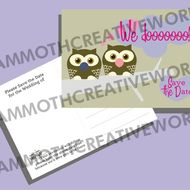 25 Save the Date Postcards - Owl Wedding Stationery
