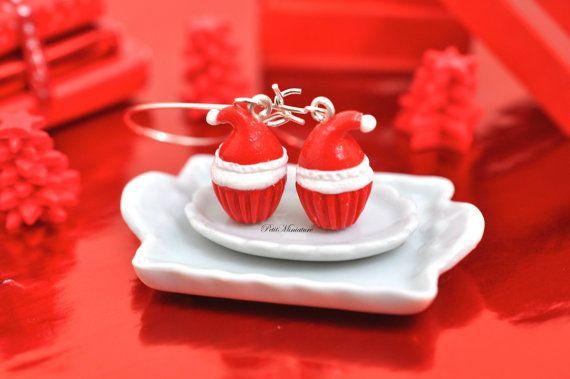 Orecchini Cupcake Babbo Natale-Natale Cupcake-Fimo Miniature cibo-Pendenti
