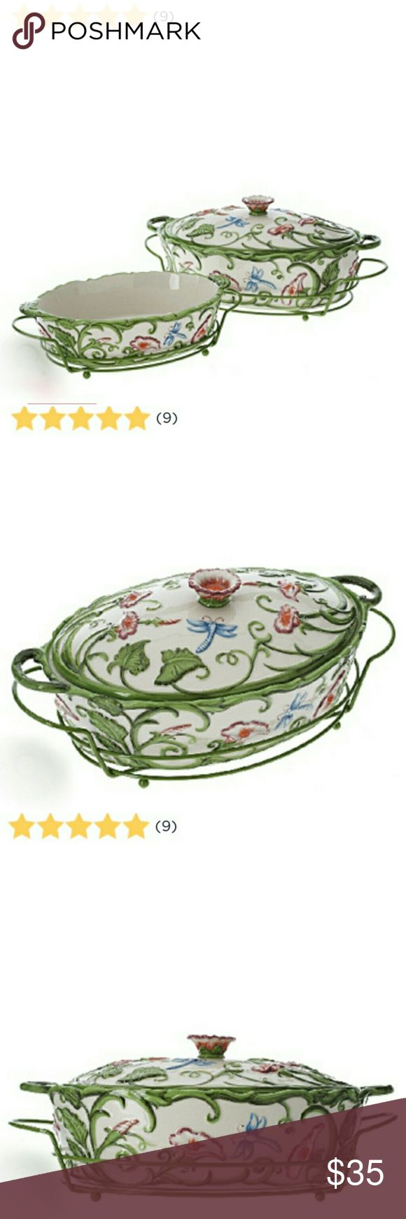 """2 Temptations Dragonfly Bakers w/Metal Racks/Spoon NEW W/O BOX Add a touch of elegance to your home with this stylish set of Temp-tations bakeware. Keep your kitchen table safe and your meals hot with the included lids and wire racks.  Hand-painted Dragonfly pattern Ceramics are dishwasher-, microwave-, refrigerator-, and freezer-safe; oven-safe to 500F Approximate measurements:  Large baker 13-7/8""""L x 8-3/8""""W x 5-3/8""""H;  Small baker 10-3/8""""L x 6-3/8""""W x 2-5/8""""H;  Spoon 12-1/2""""L x 2-7/8""""H…"""