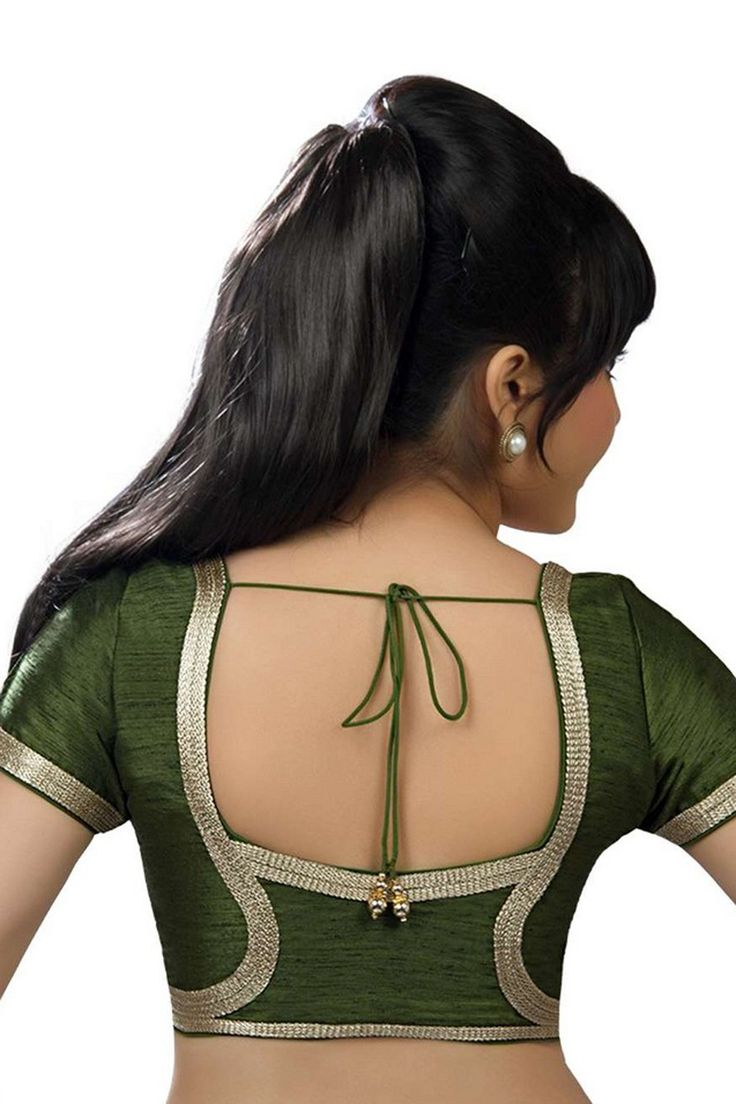 Olive #green festive wear raw silk #blouse with back blunt #square neck -BL633