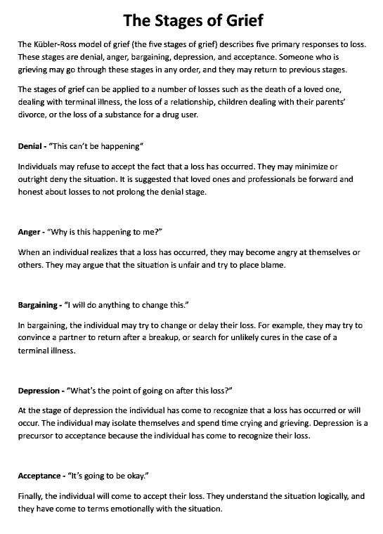 The Stages of Grief (Education Printout) Preview | Repinned by Melissa K. Nicholson, LMSW www.adoptioncounselinggr.com