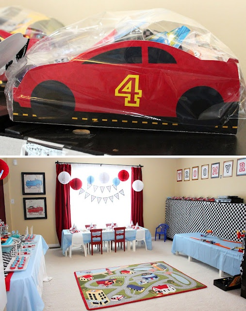 race car party {Paper & Cake printables}: the TOO COOL car serving boxes are part of the printable set!  This whole party set-up is darling!!