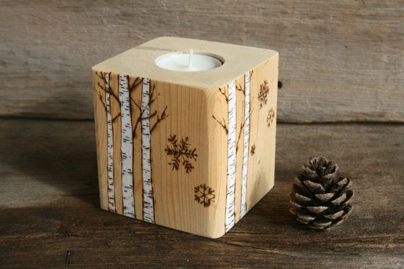 Winter Birch Candle Holder  Woodburning by TwigsandBlossoms, $38.00