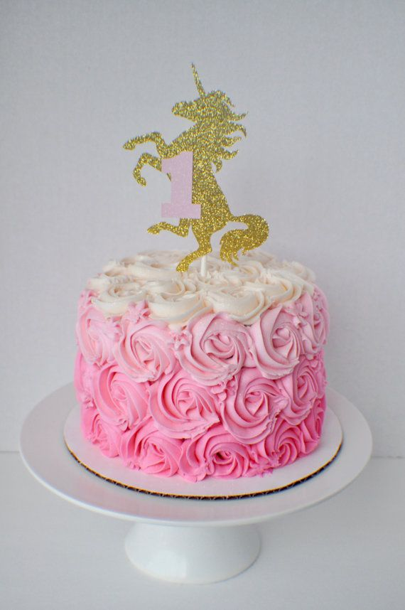 Unicorn Cake Topper by SmashCaked on Etsy