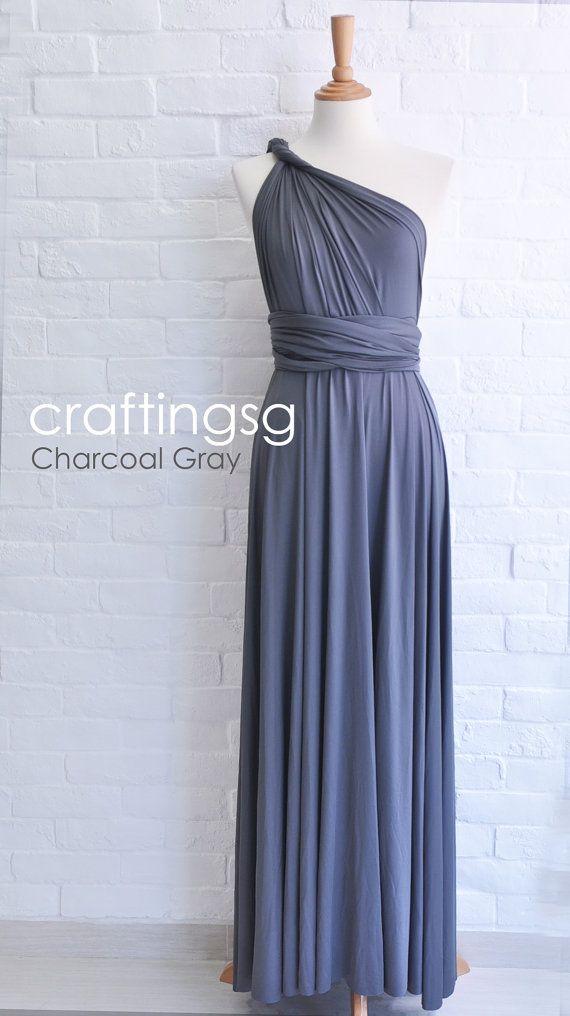 Bridesmaid Dress Infinity Dress Charcoal Grey Floor Length Wrap Convertible Dress Wedding Dress on Etsy, $50.00