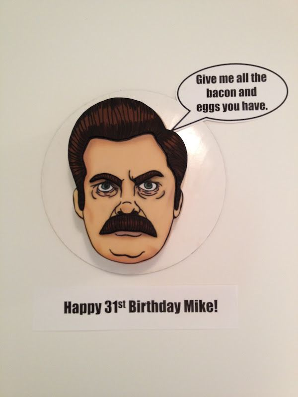 Eat Cake Be Merry  Putting this under hearts cause I f'ing love this. Ron.Swanson.cake.