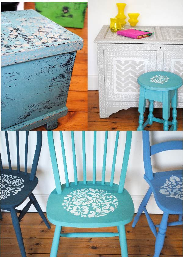 Painted and stencilled furniture by Nicolette Tabram.