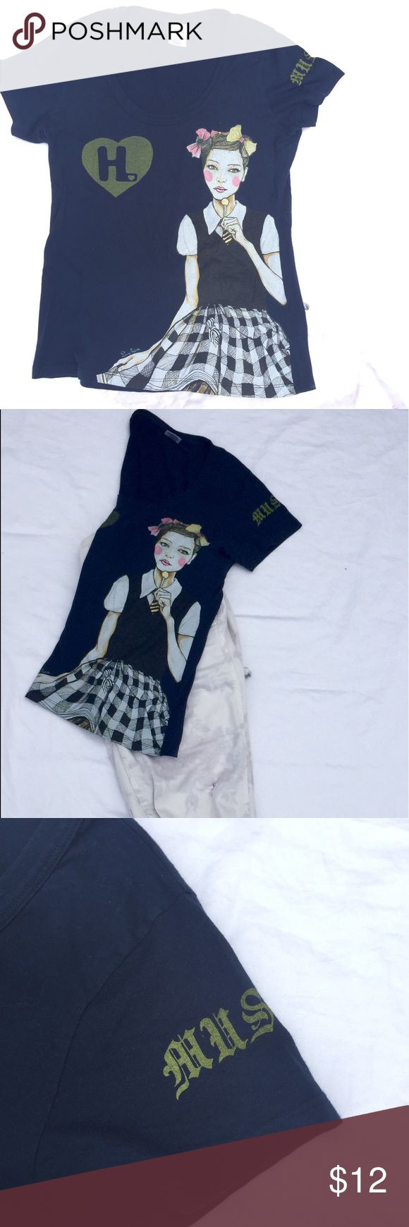 Harajuku Girls Graphic T-Shirt Navy Harajuku Girls tee featuring schoolgirl graphic. Great with leggings and a cardigan! Harajuku Lovers Tops Tees - Short Sleeve