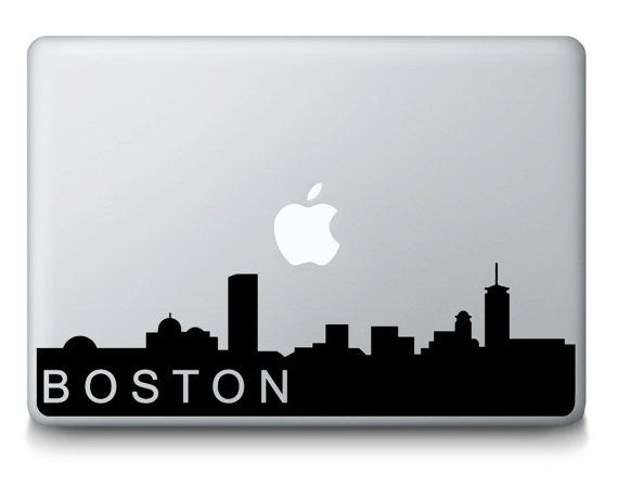 Boston Massachusetts Skyline City Silhouette MacBook Mac portatile vinile adesivo decalcomania