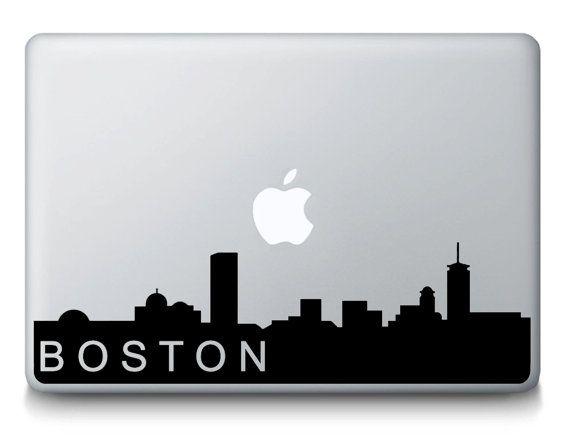 Boston Massachusetts Skyline City Silhouette MacBook Mac portatile vinile adesivo decalcomania