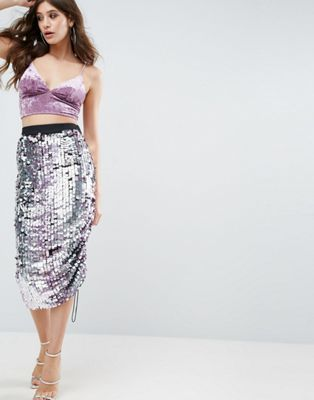 ASOS Pencil Skirt with Ombre Embellishment and Channel Detail
