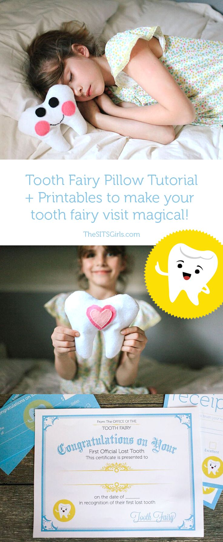 Make the Tooth Fairy visit special with an easy to make, DIY Tooth Fairy pillow and super cute Tooth Fairy printables - including a letter from the fairy, tooth receipt, and even an official Tooth Fairy Check for those nights when parents aren't prepared for a lost tooth.
