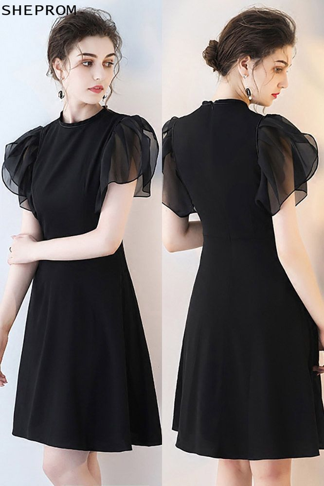 8a01bfc0d4c Chic Black Short Formal Party Dress with Puffy Sleeves -  66.6 ...