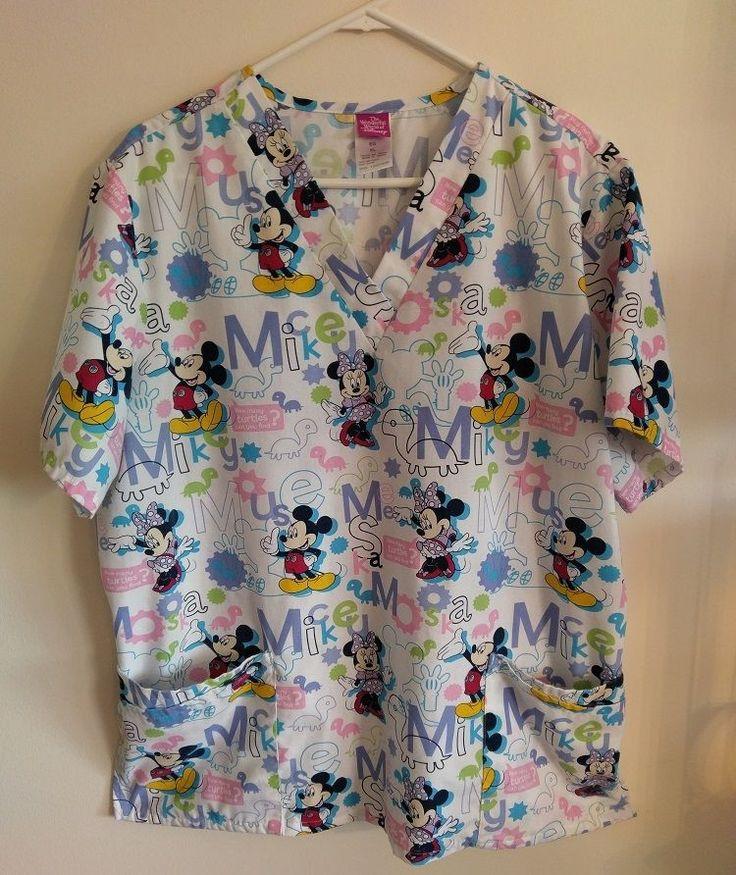 Mickey and Minnie Mouse Disney Scrub Top Womens XL White Shirt How many Turtles #Disney