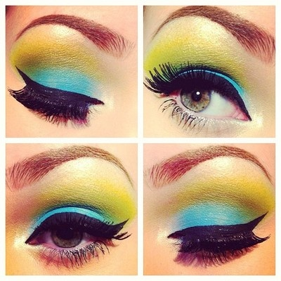 Just a random look since I haven't done one in forever. Didn't have all my brushes sorry if it's sloppy  #makeup #eyeshadow #eyes #green #blue #yellow