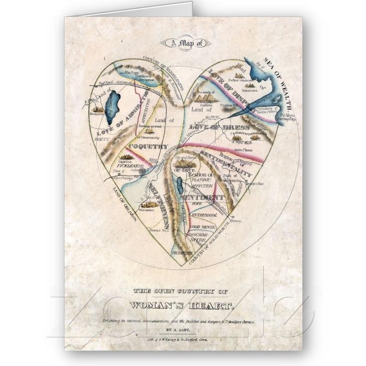Mapa do cartão de um feriado do coração da mulher de <br> Não Perca! Zazzle.com