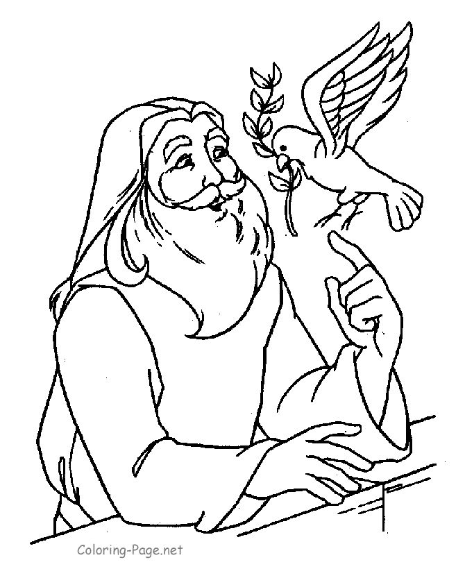 bible coloring page noah and dove - Bible Coloring Pages Kids Noah