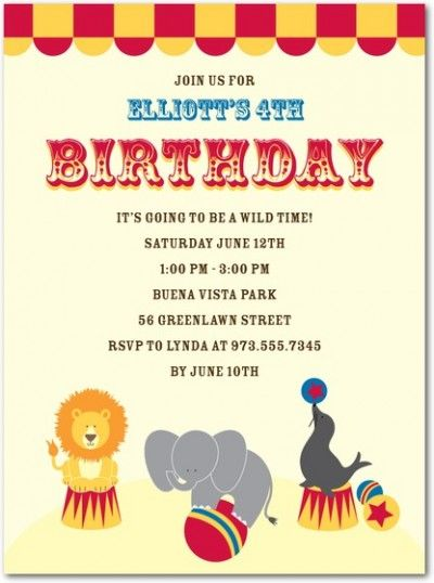 127 best Fiestas Circus party images on Pinterest Circus party - circus party invitation