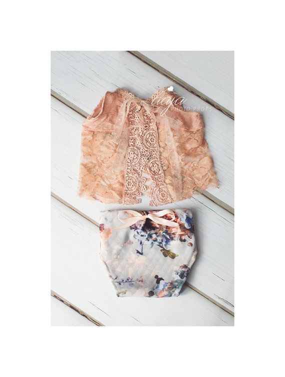 Delicate baby newborn girl nappy cover and top set vintage style peach pastel blue floral lace photo prop