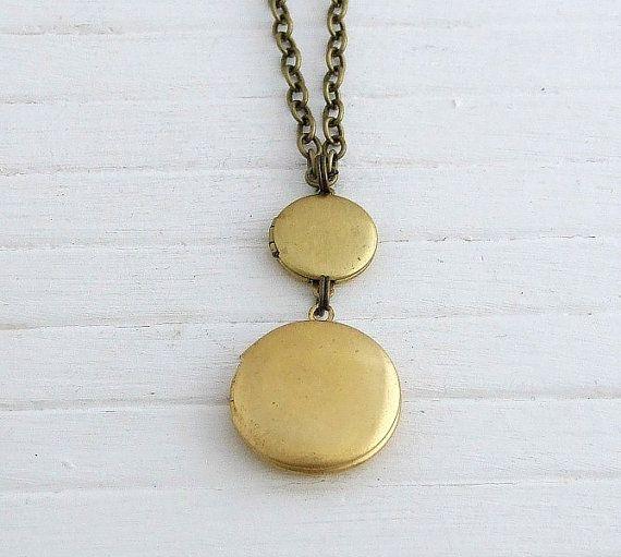 Double Locket Necklace ..  small locket brass by beadishdelight