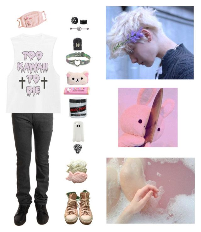"""pastel boy p2"" by lilwolfy0 ❤ liked on Polyvore featuring Naked & Famous, Converse, Manic Panic NYC, Hello Kitty, STELLA McCARTNEY, Hot Topic and Avery"
